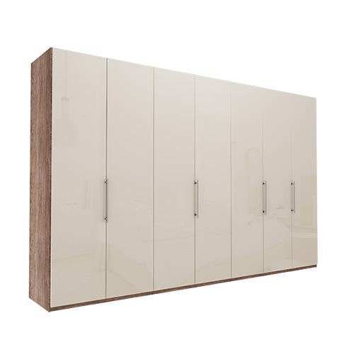Garderobe Atlanta - Mørk rustikk eik 350 cm, 216 cm, Uten gesims / ramme