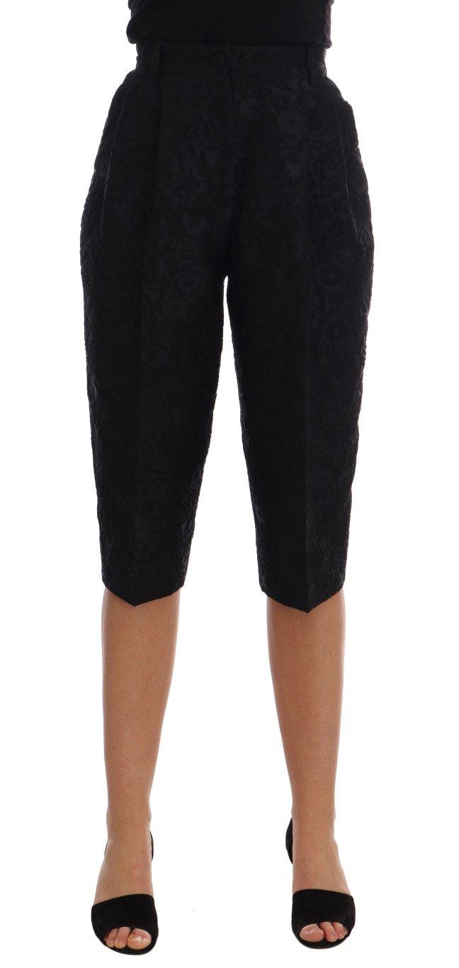 Dolce & Gabbana Women's Brocade High Waist Capri Shorts Black BYX1226 - IT36|XXS