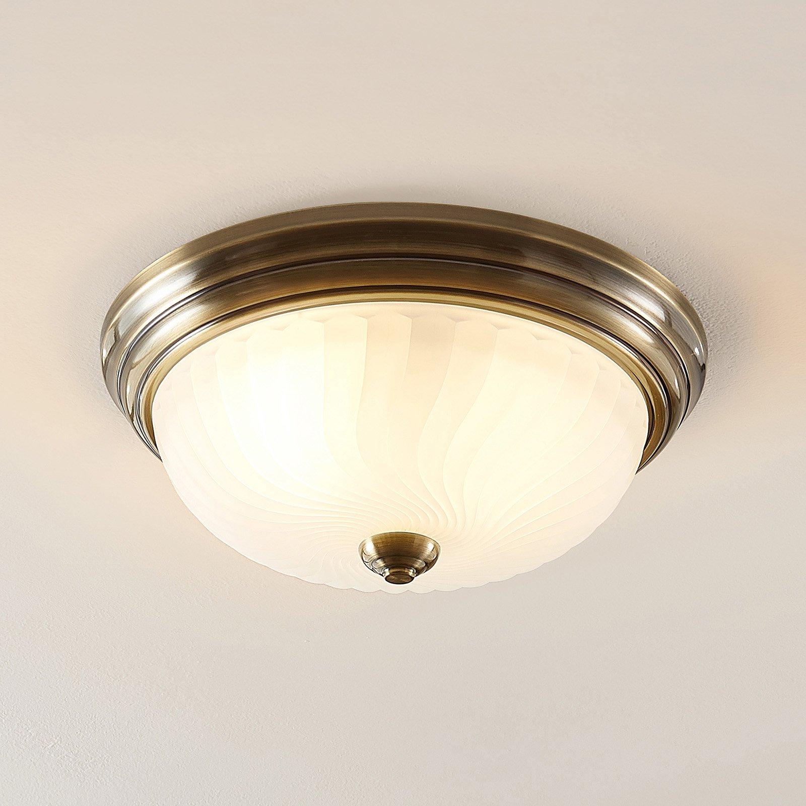 Lindby Pakka taklampe, satinert nikkel