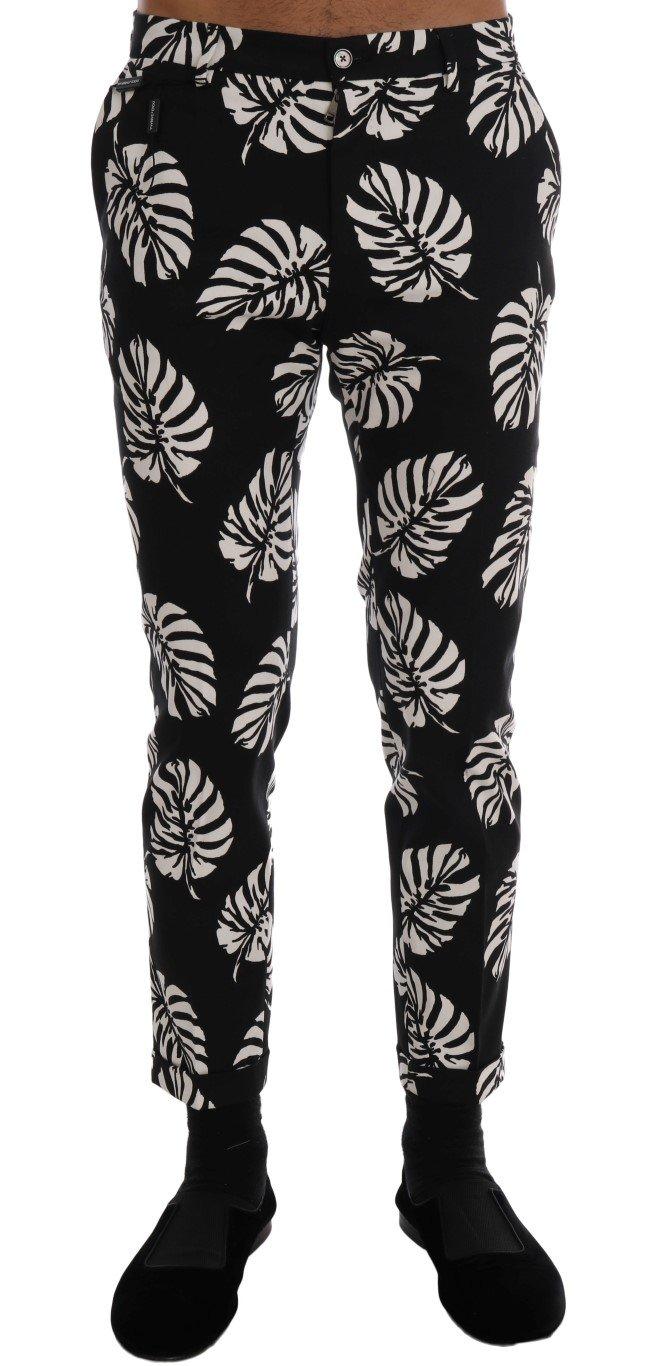 Dolce & Gabbana Men's Leaf Cotton Stretch Slim Trouser Black/White PAN60812 - IT44   XS