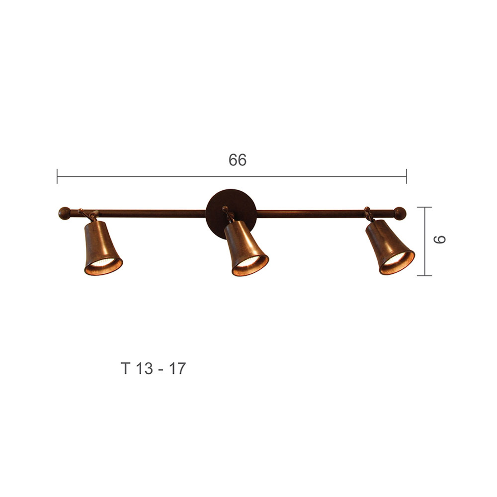 Menzel Pusta -kattokohdevalo, 3-lamppuinen