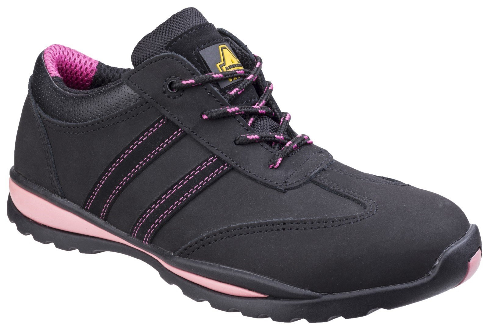 Amblers Women's Safety Heat Resistant Lace Up Trainer Multicolor 19342 - Black/Pink 3