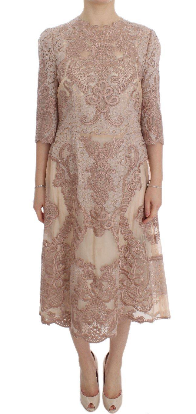 Dolce & Gabbana Women's Silk Lace Ricamo Shift Dress Pink DRE10065 - IT38|XS