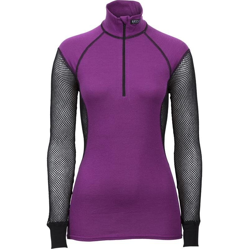 Brynje Wool Thermo Ladies Zip polo M Lady Collection - Black/Violet