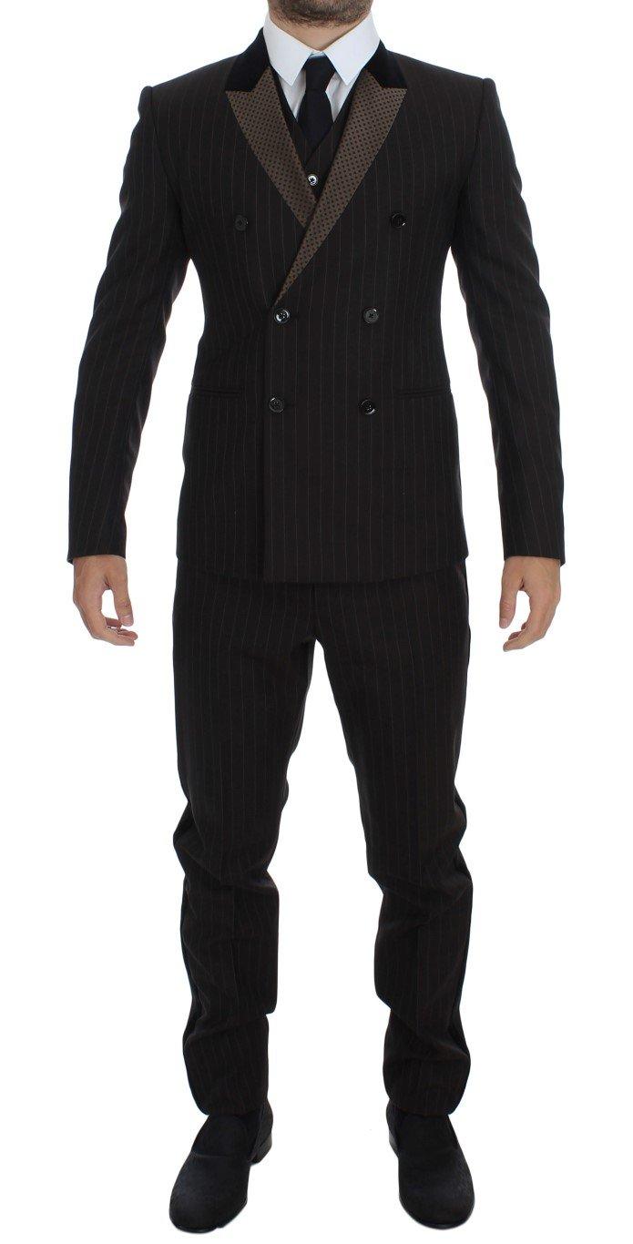 Dolce & Gabbana Men's Striped Wool Slim 3 Piece Suit Tuxedo Brown GTT10185 - IT48   M