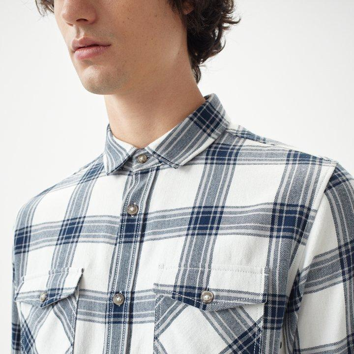 O'Neill Men's Violator Flannel Shirt White with Blue 8719403503163 - XL White Blue