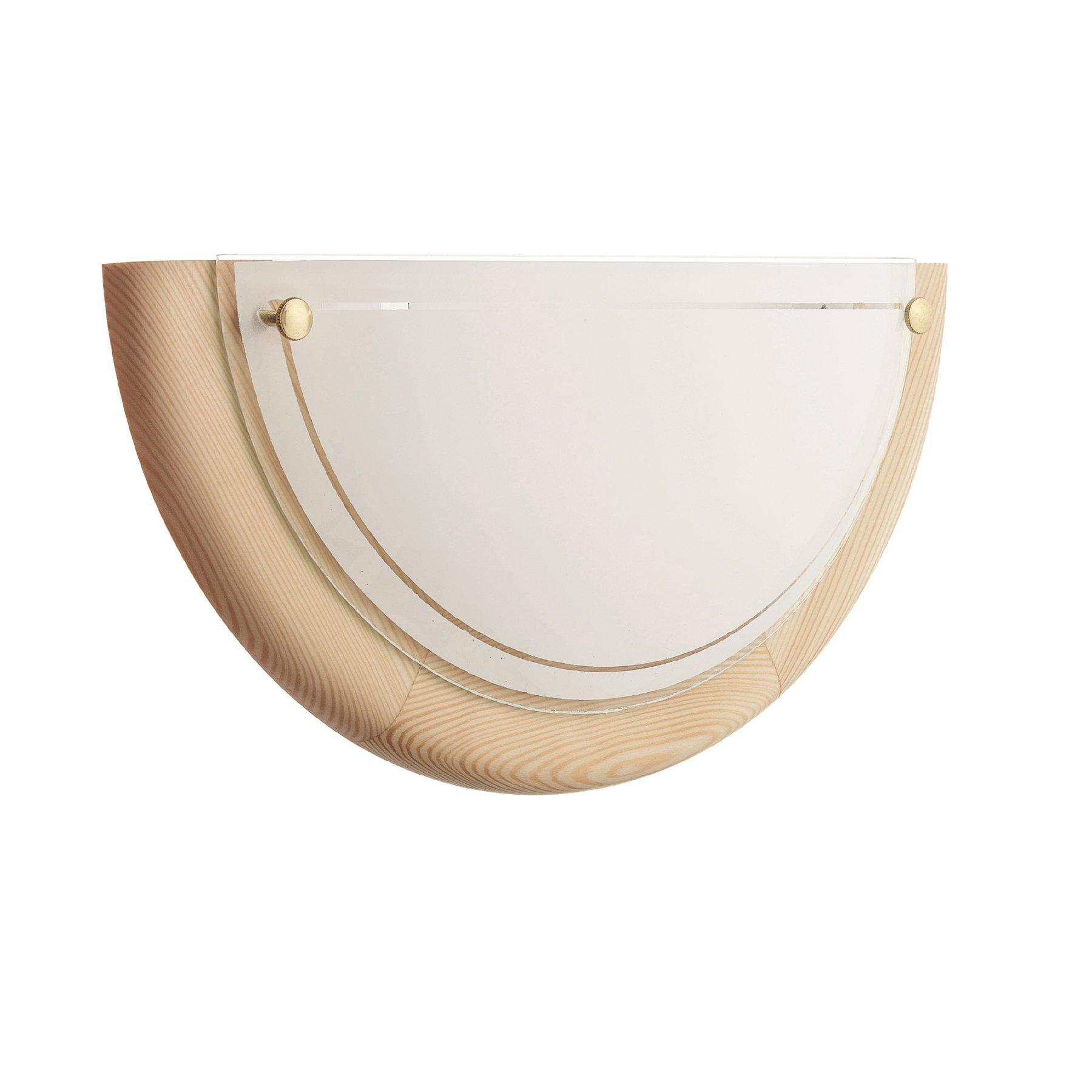 Vegglampe K1D av furu og glass