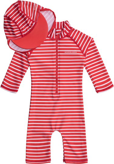 Nordbjørn Vrångö UV-Drakt & Hatt, Red Stripe 122-128