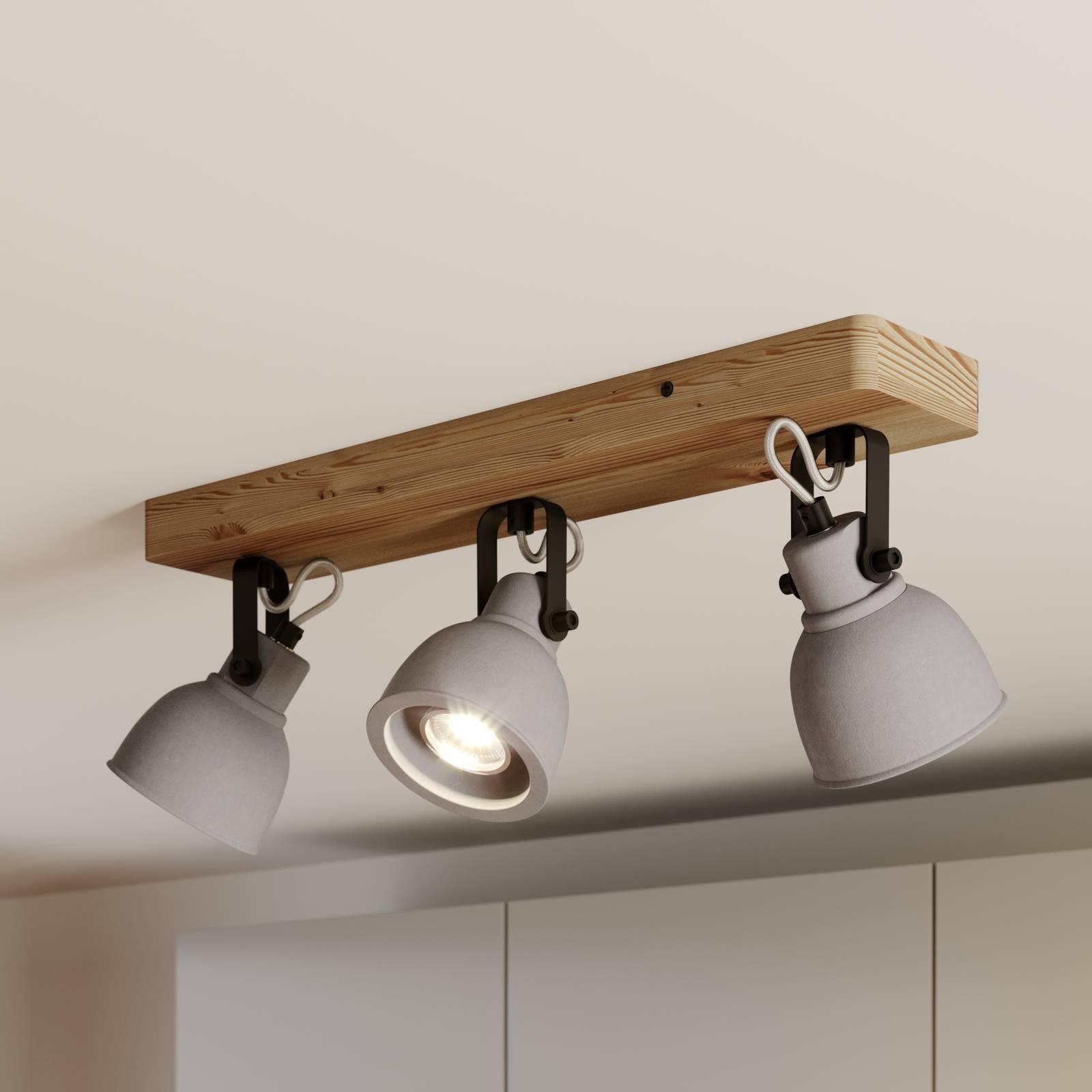 Lindby Mirka-LED-kattovalaisin, mänty 3-lamppuinen