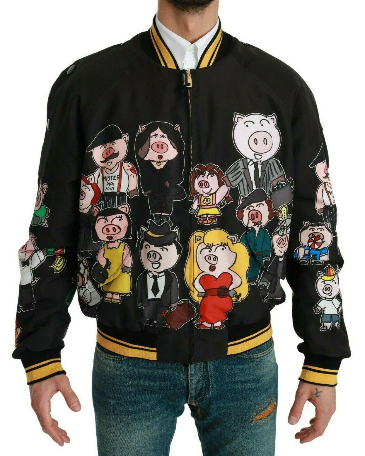 Dolce & Gabbana Men's YEAR OF THE PIG Bomber Jacket Black JKT2609 - IT44 | XS