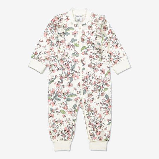 Dress med epleblomst-trykk, baby hvit
