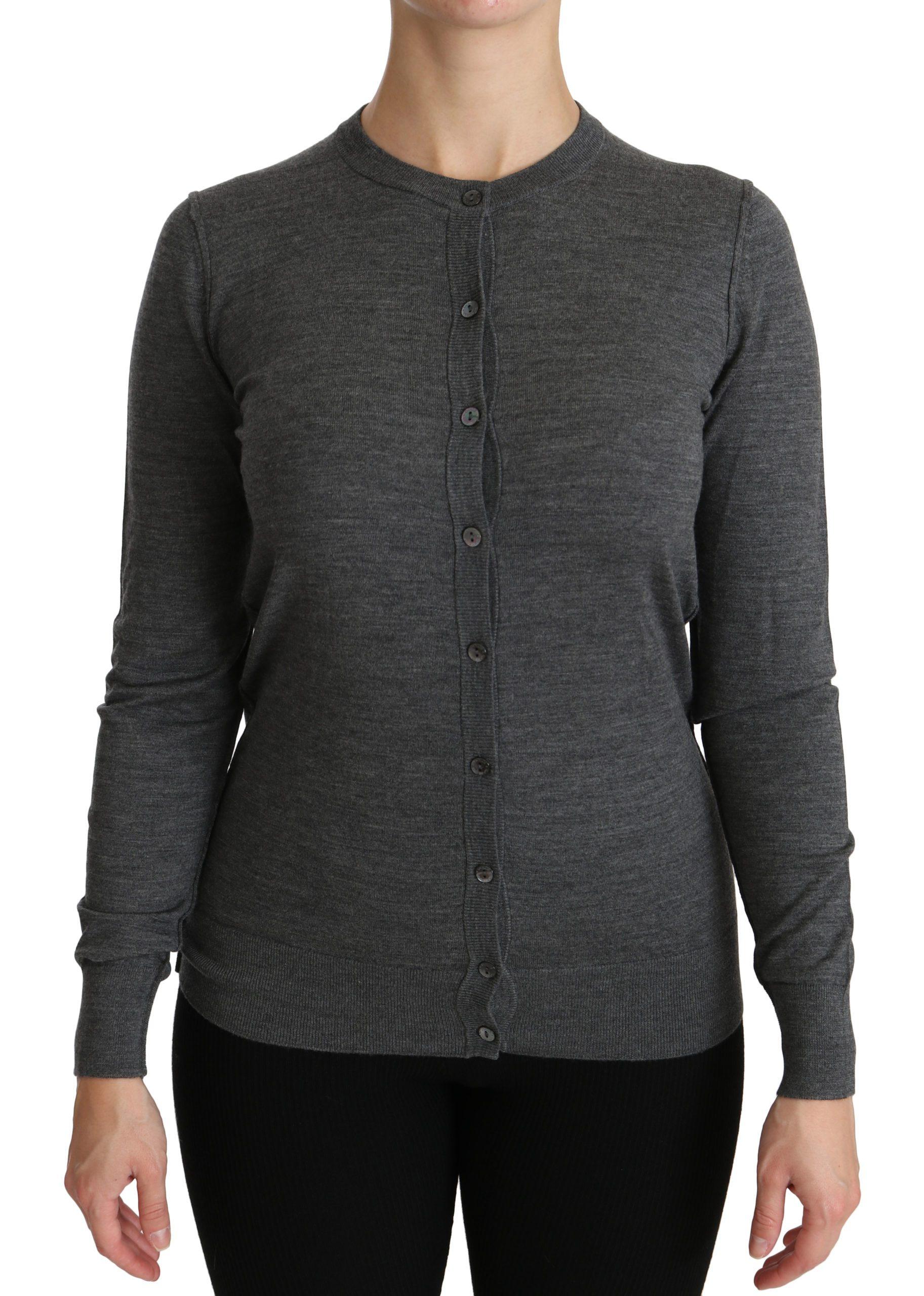 Dolce & Gabbana Women's LS Wool Cardigan Gray TSH4300 - IT38|XS