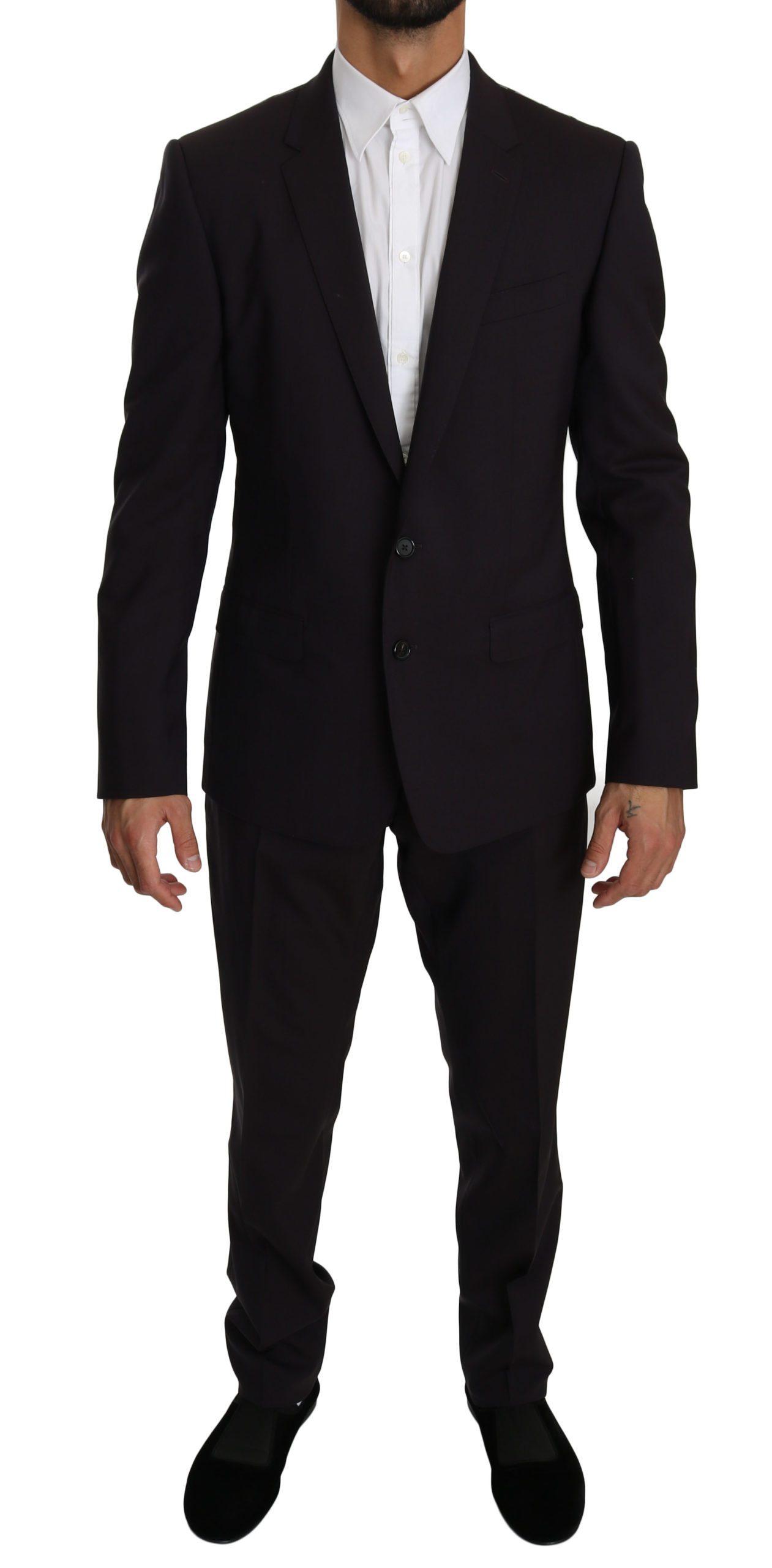 Dolce & Gabbana Men's Wool Stretch 2 Piece MARTINI Suit Purple KOS1606 - IT50 | L