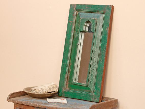 Green Ornate Mirror Medium