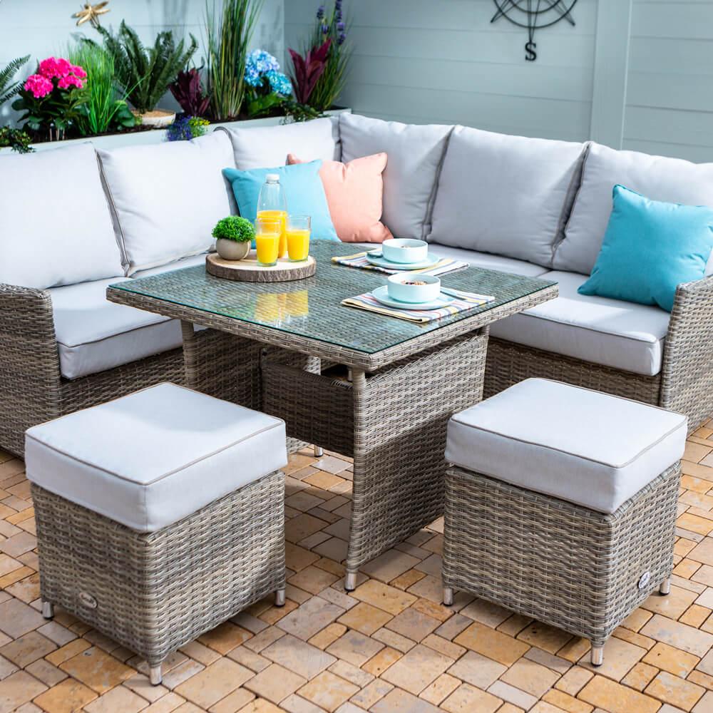 2021 Hartman Westbury Square Corner Lounge Set With Square Table - Beech/Dove