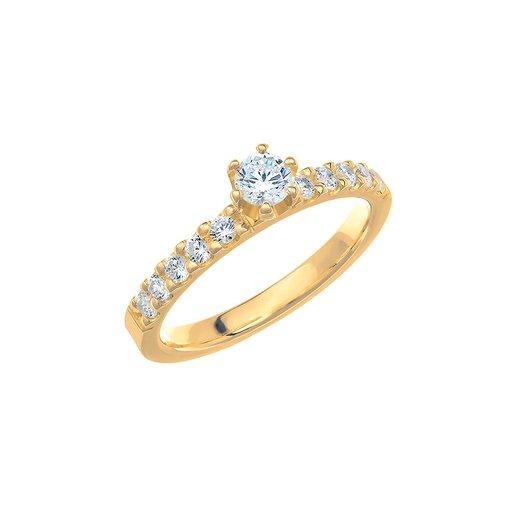 Diamantring i 18K guld, 59