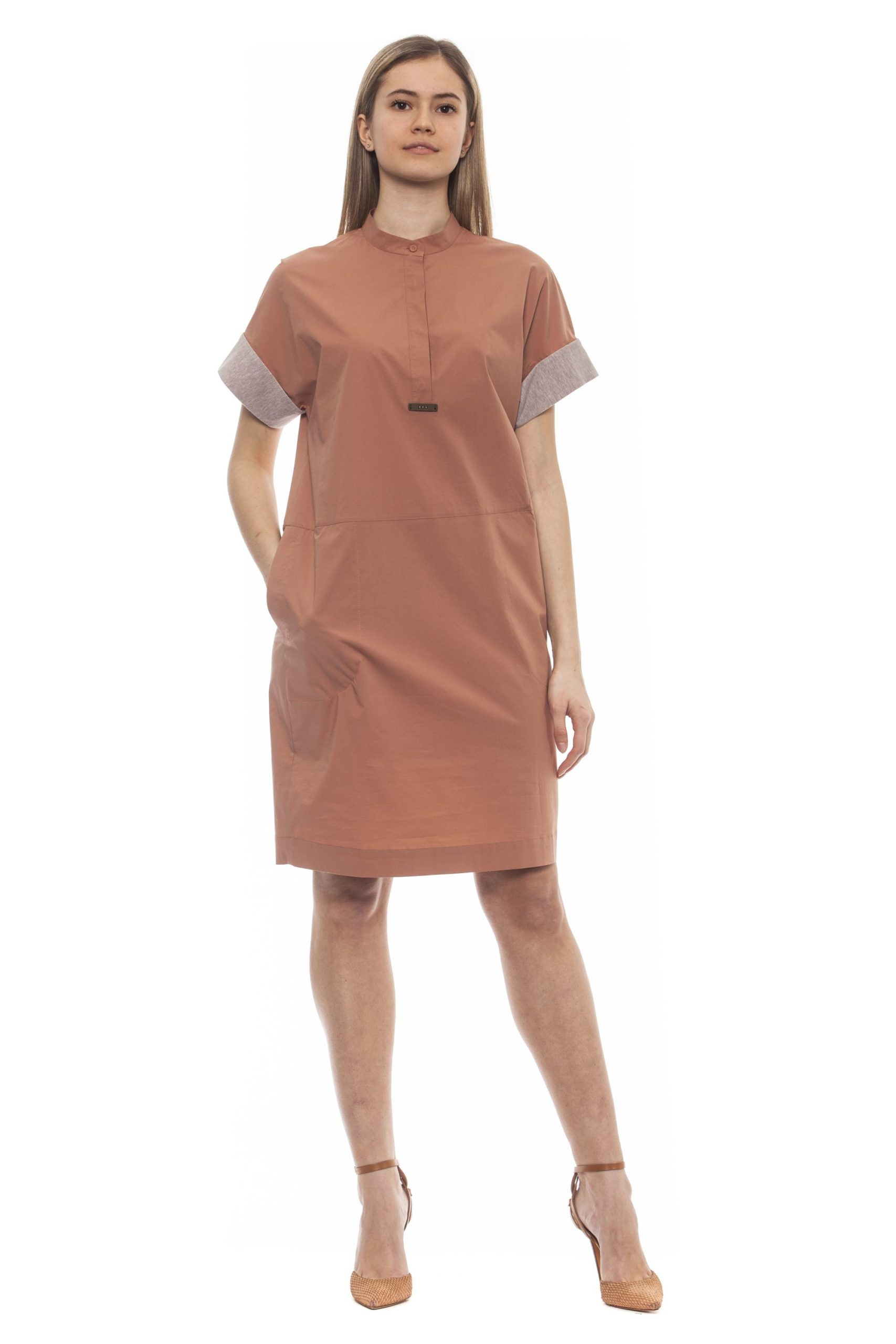 Peserico Women's Marrone Dress Brown PE1383287 - IT42   S
