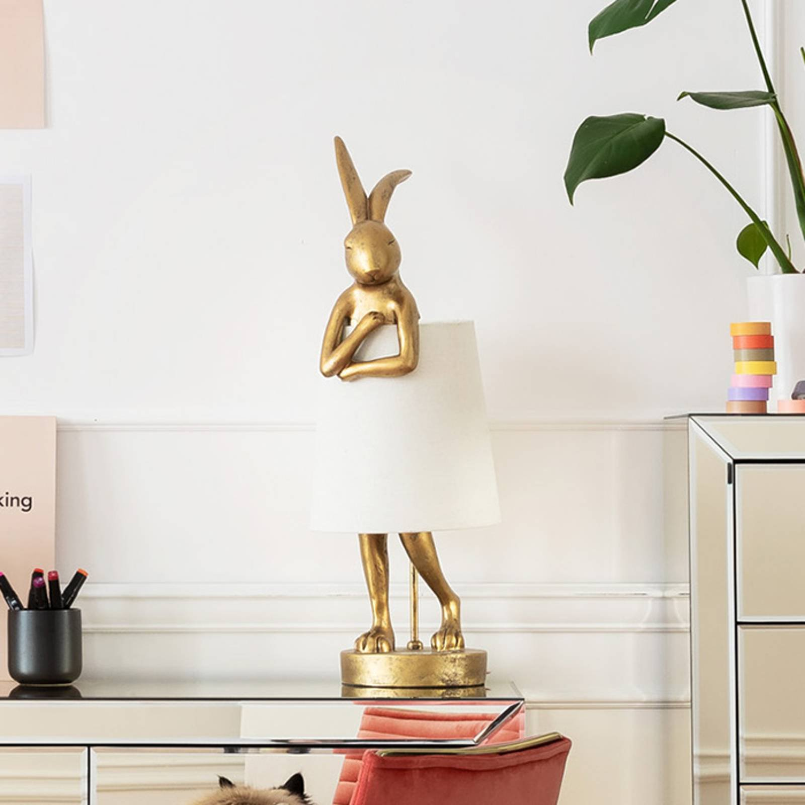 KARE Animal Rabbit bordlampe gull/hvit
