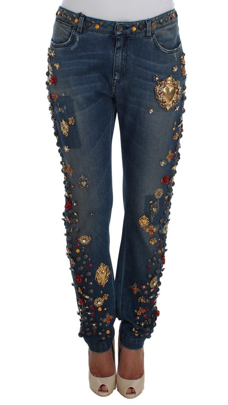 Dolce & Gabbana Women's Crystal Roses Heart Embellished Jeans Blue SIG19329 - IT46 XL