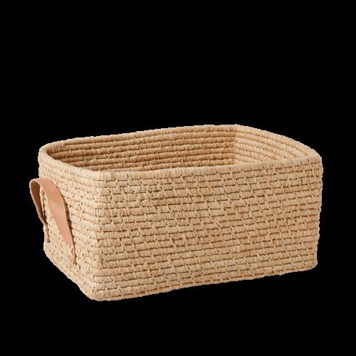 Rice - Raffia Rectangular Basket w. Leather Handle - Nature