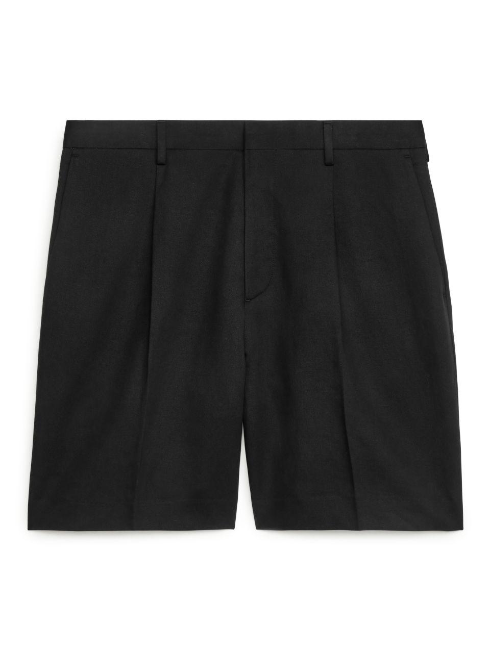 Loose Fit Linen Shorts - Black