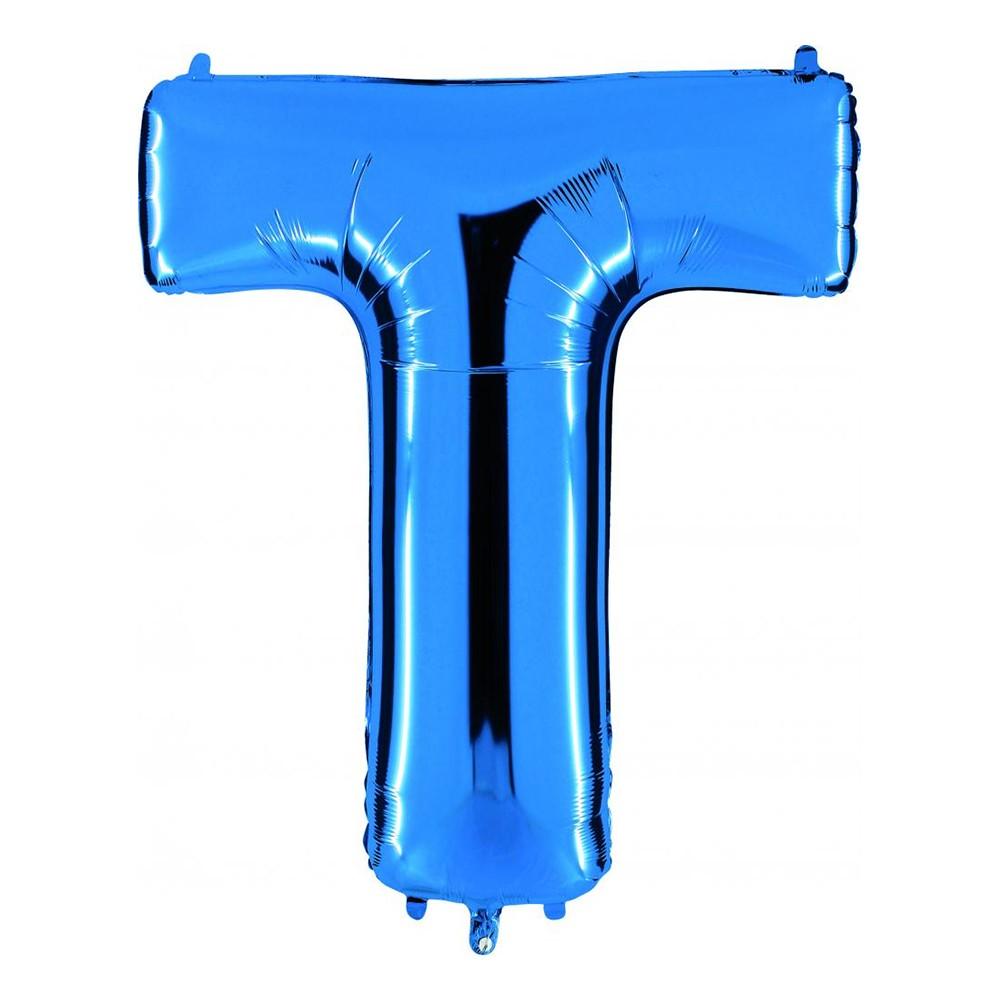 Bokstavsballong Blå Metallic - Bokstav T