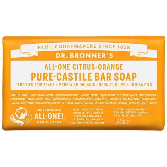 Citrus Orange Bar Soap, 140 g Dr. Bronner's Luonnonkosmetiikka