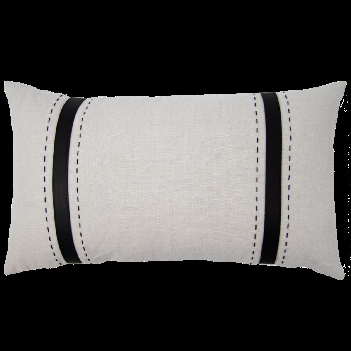 de Le Cuona   Bracken Cushion With Leather Straps Mushroom