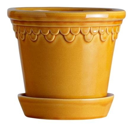 Köpenhamn Kruka med fat Glazed Yellow Amber 12 cm