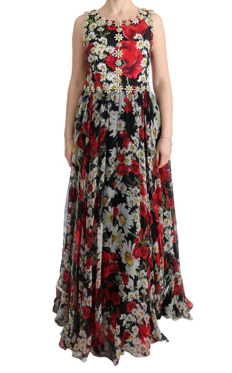 Dolce & Gabbana Women's Silk Floral Crystal Dress Multicolor SIG60643 - IT44|L
