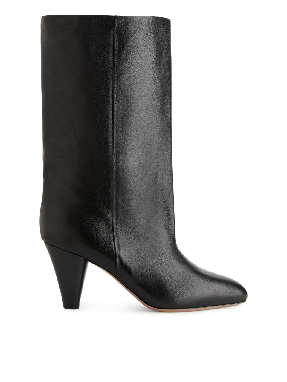 Mid-High Wide-Shaft Boots - Black