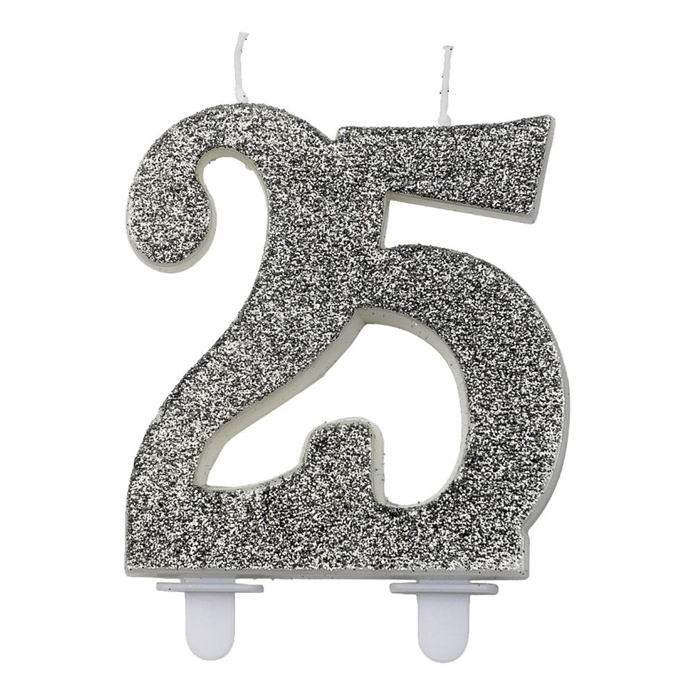 Sifferljus Glitter Silver - Siffra 25
