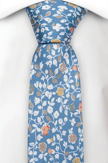 Silke Smale Slips, Trykt blomstermønster på blå italiensk silke, Notch ANDREA