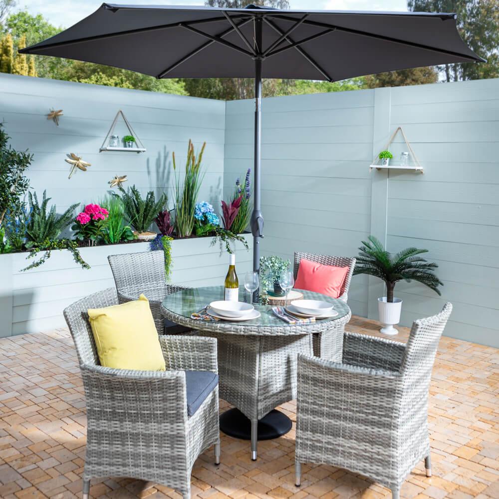 2021 Hartman Westbury 4-Seat Garden Dining Set with Round Table & 2.5m Parasol - Ash/Slate