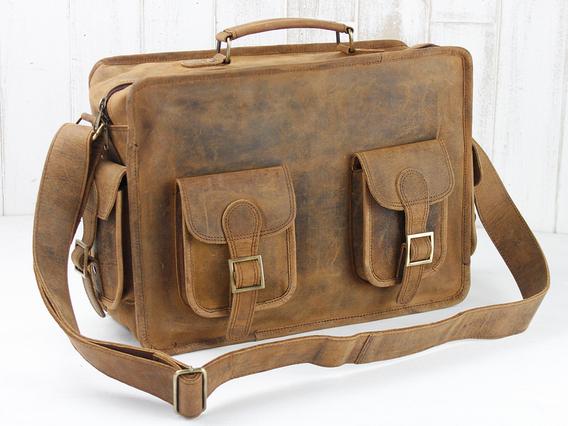 Large Leather Vintage Flight Bag Brown 15 Inch