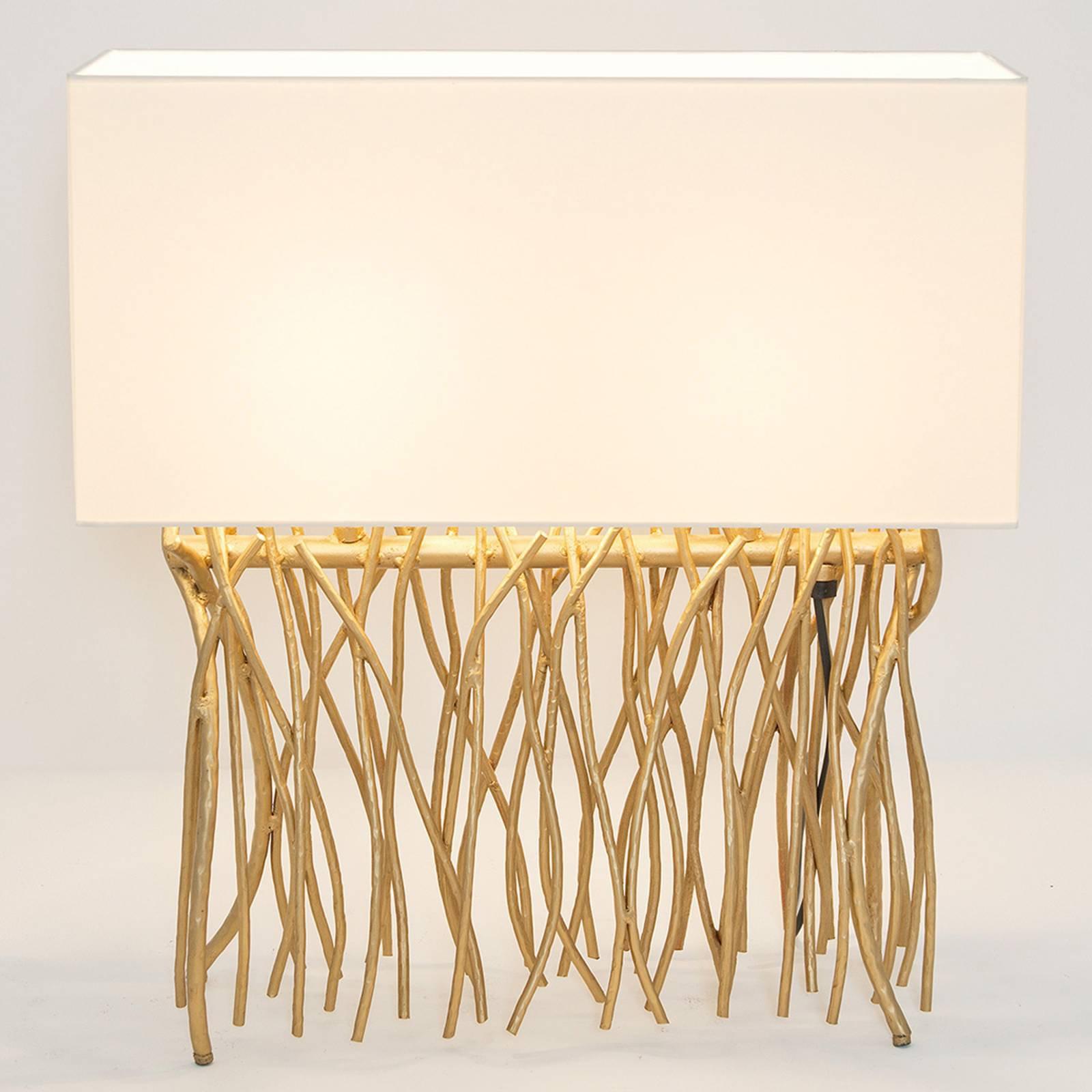 Bordlampe Capri, kantet, ecru/gold