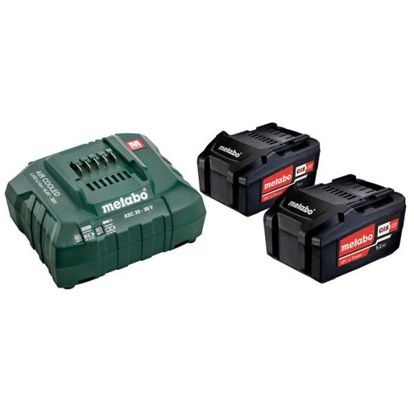 Metabo Bas-set Ladepakke med 2 stk 5,2Ah batterier og lader
