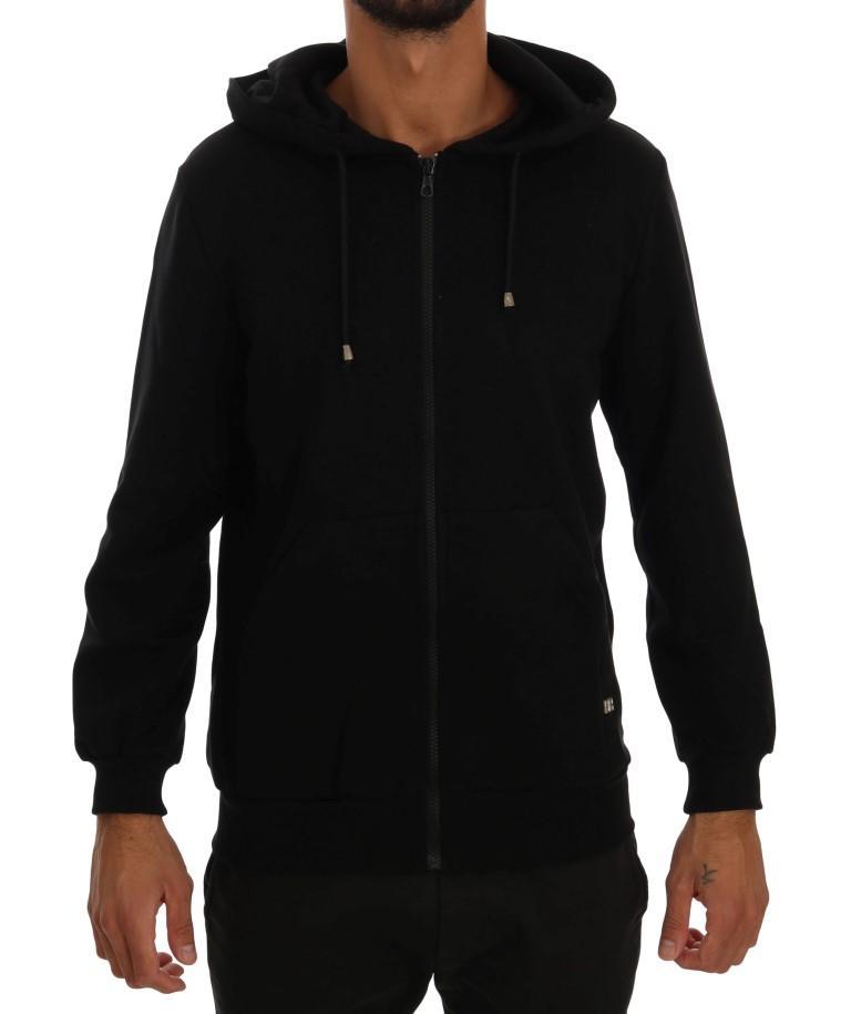 Daniele Alessandrini Men's Sport Casual Hodded Cotton Sweater Black TSH1352 - L