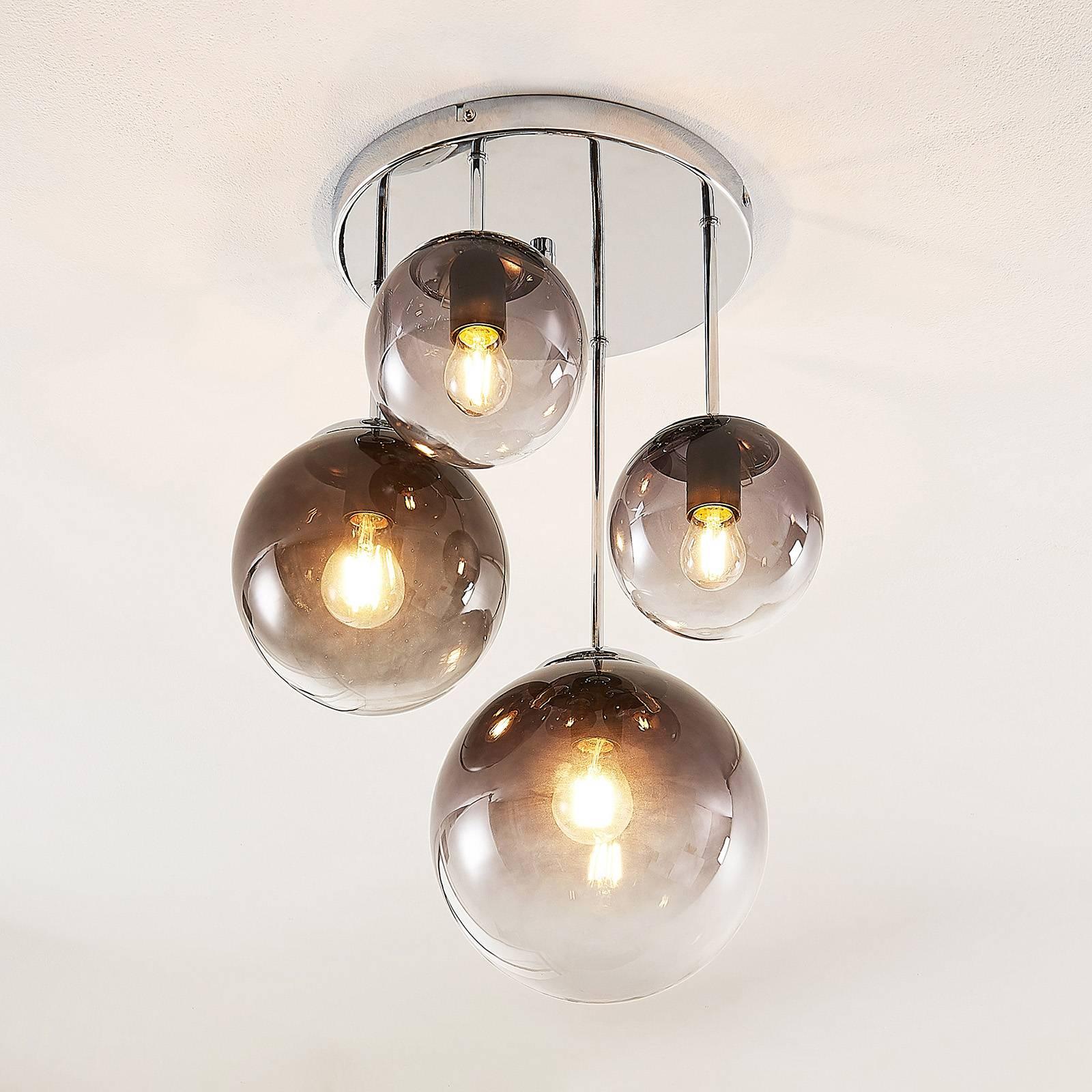 Lindby Robyn -kattovalaisin, lasia, 4-lamppuinen
