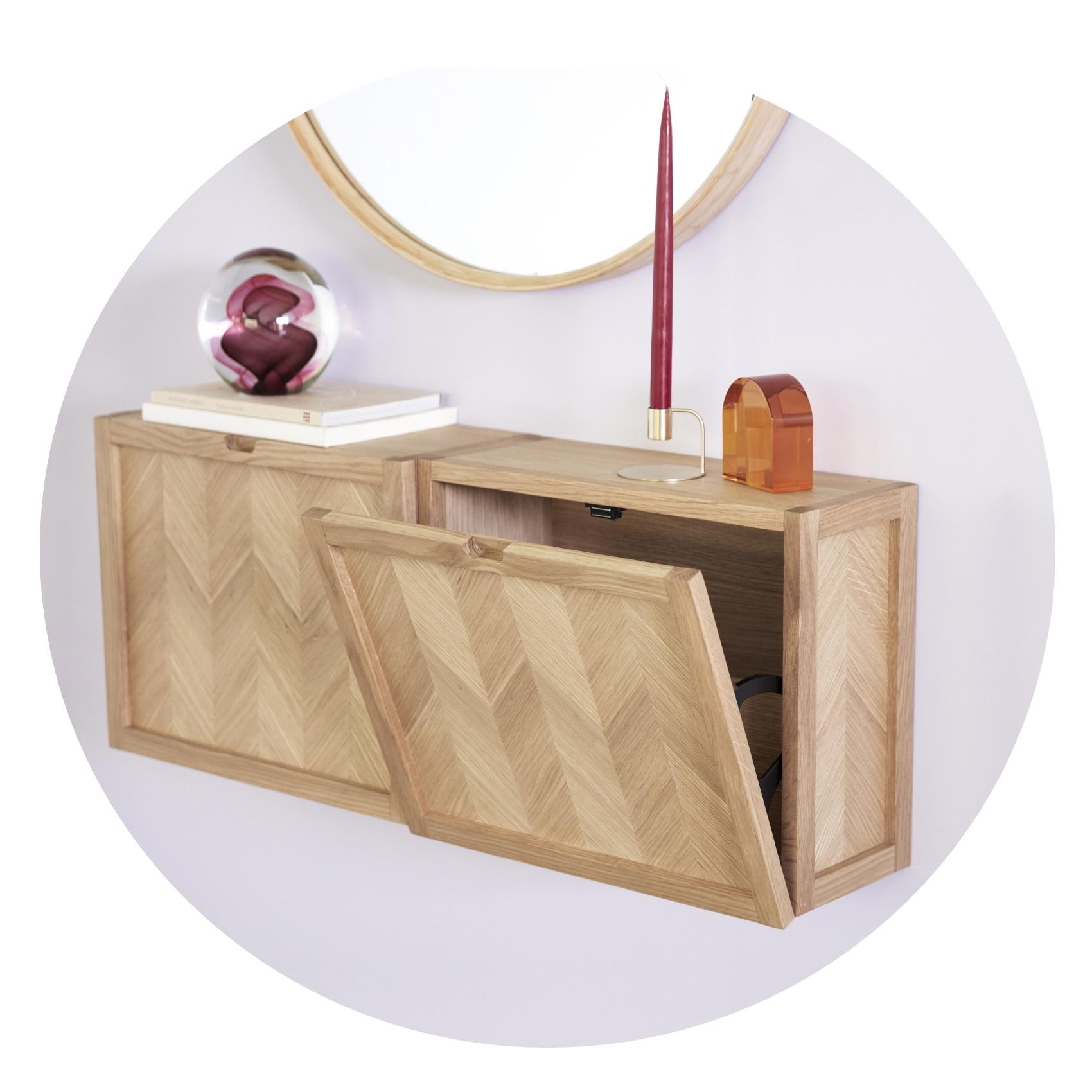 Vägghängt skoskåp / sängbord ek Hubsch