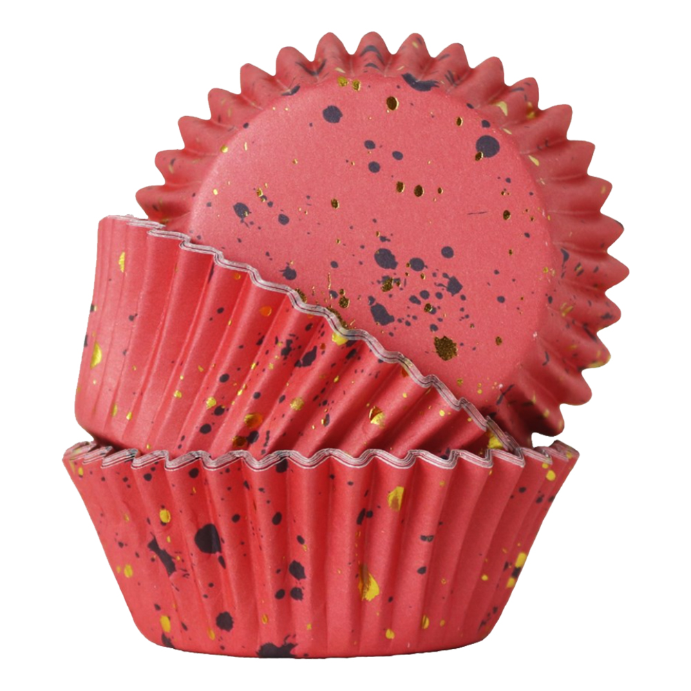 Folieformar Muffins Rosa/Guld Flakes - 30-pack