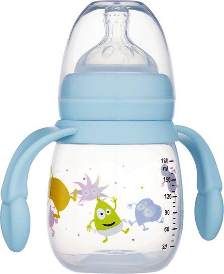 2B Baby Tåteflaske M Håndtak Babblarna 180 ml, Blå