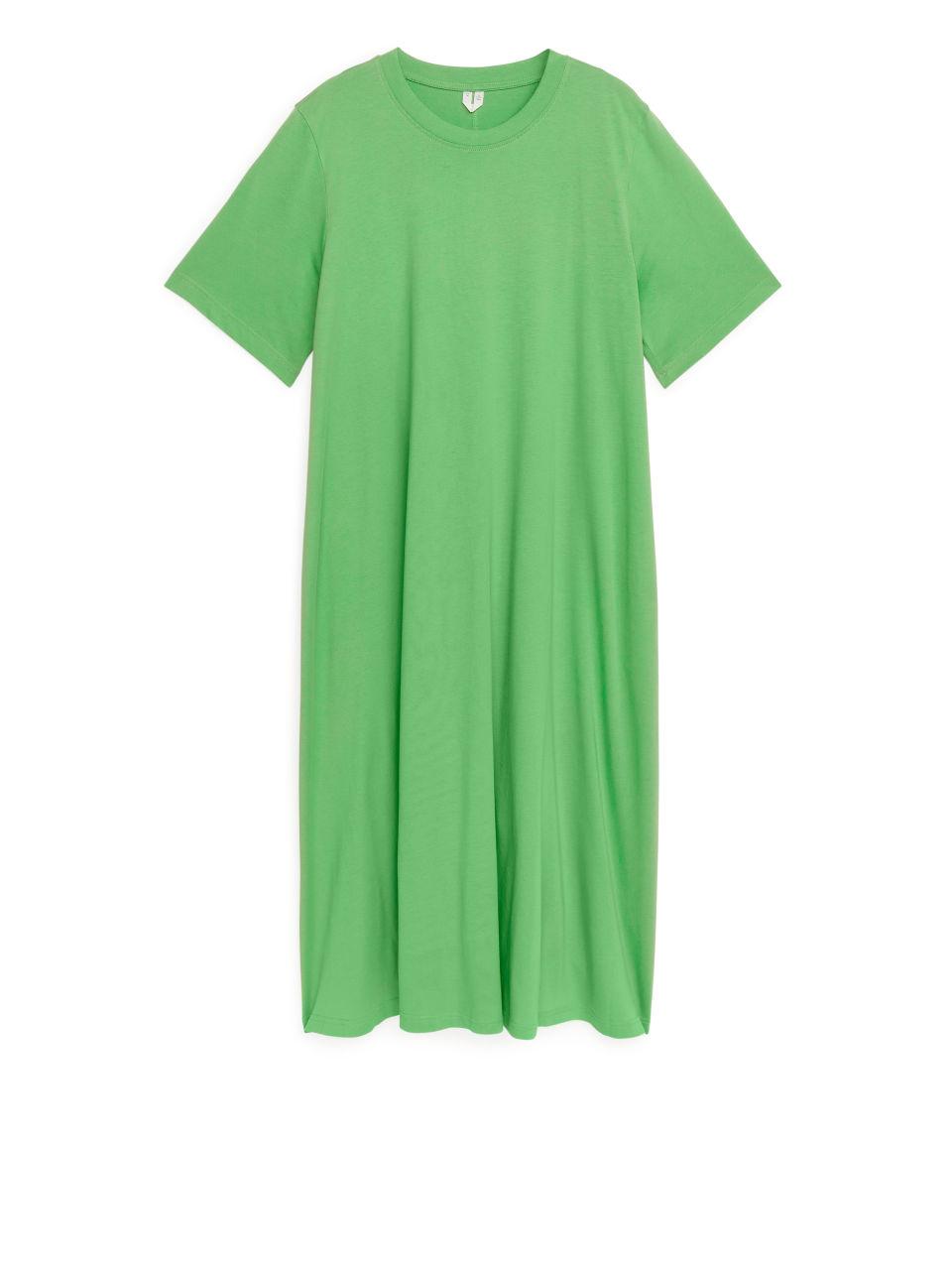 A-Line T-Shirt Midi Dress - Green