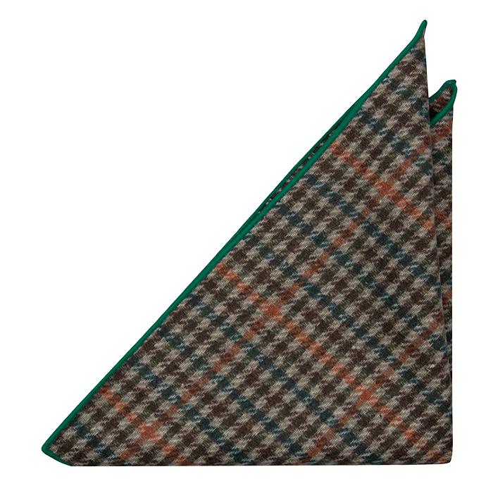 Ull Lommetørkler, Beige, brown, green and orange plaid & green edges