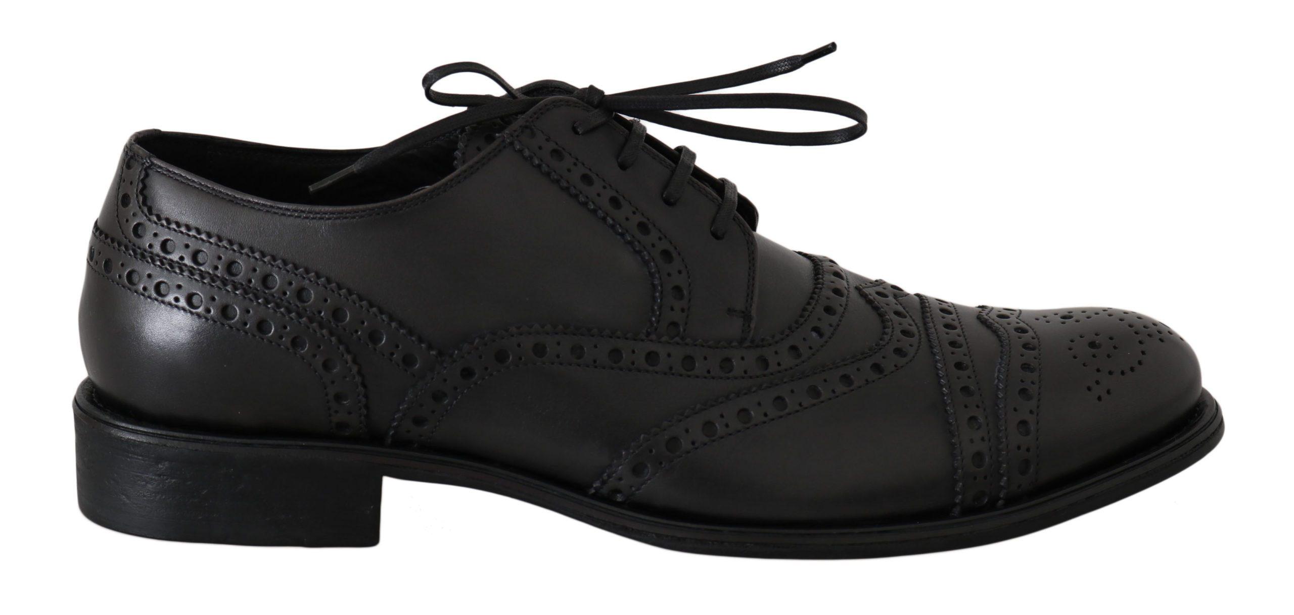 Dolce & Gabbana Men's Leather Wingtip Formal Derby Shoes Gray MV2357 - EU42.5/US9.5