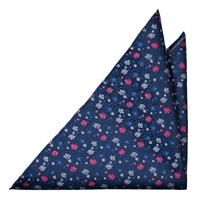 Silke Lommetørkler, Marineblå kypebase, små blomster i rød & to blå