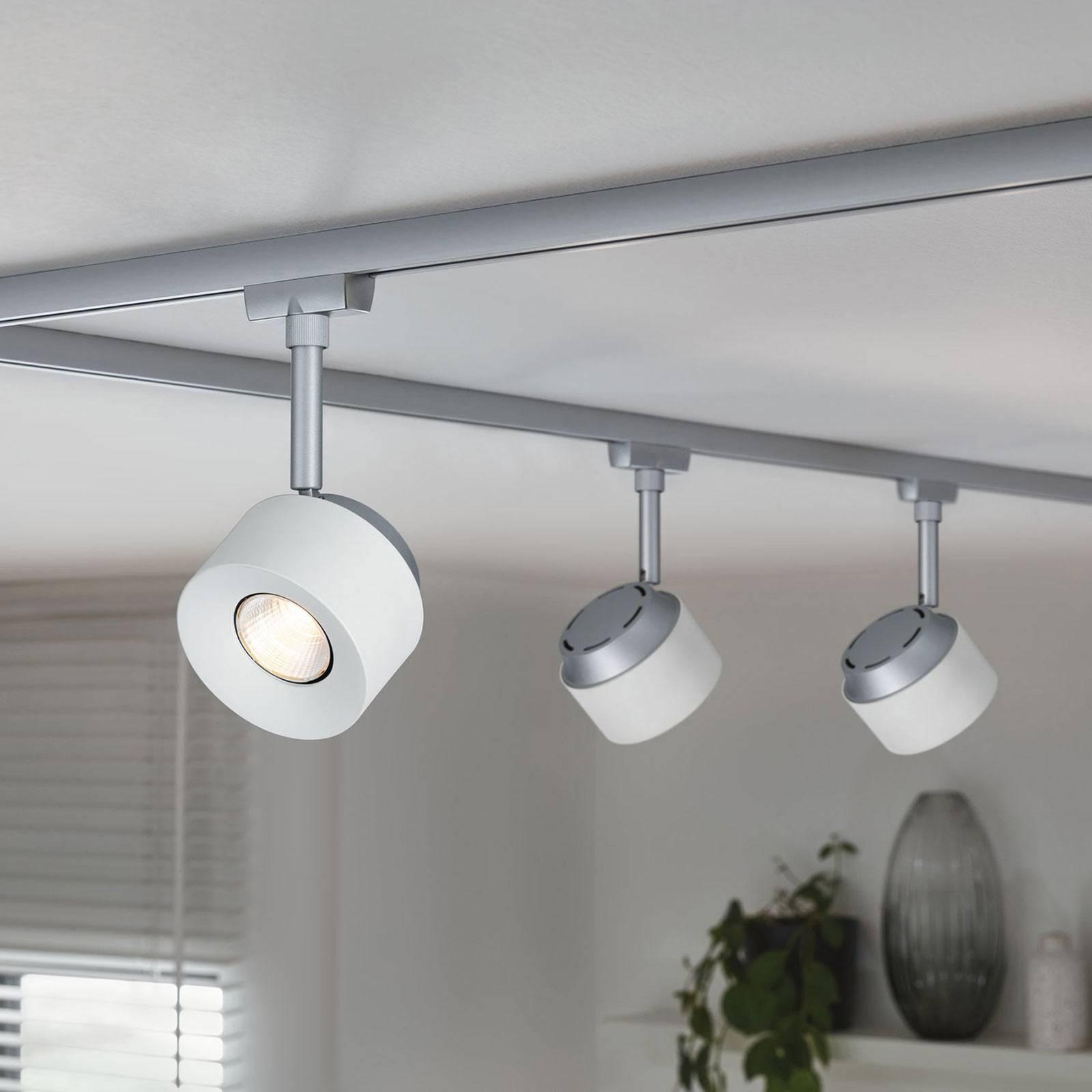 Paulmann URail LED-Spot Pane mattakromi, valkoinen