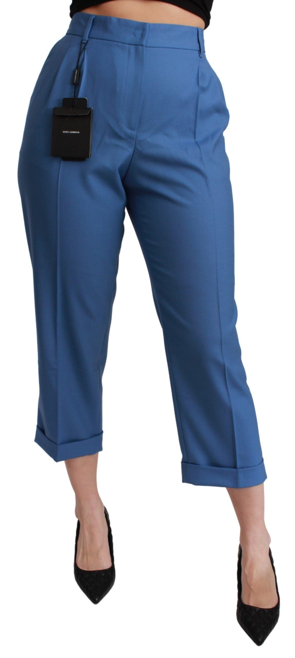 Dolce & Gabbana Women's Pleated Wool Cuffed Cropped Trouser Blue PAN71060 - IT36 | XS