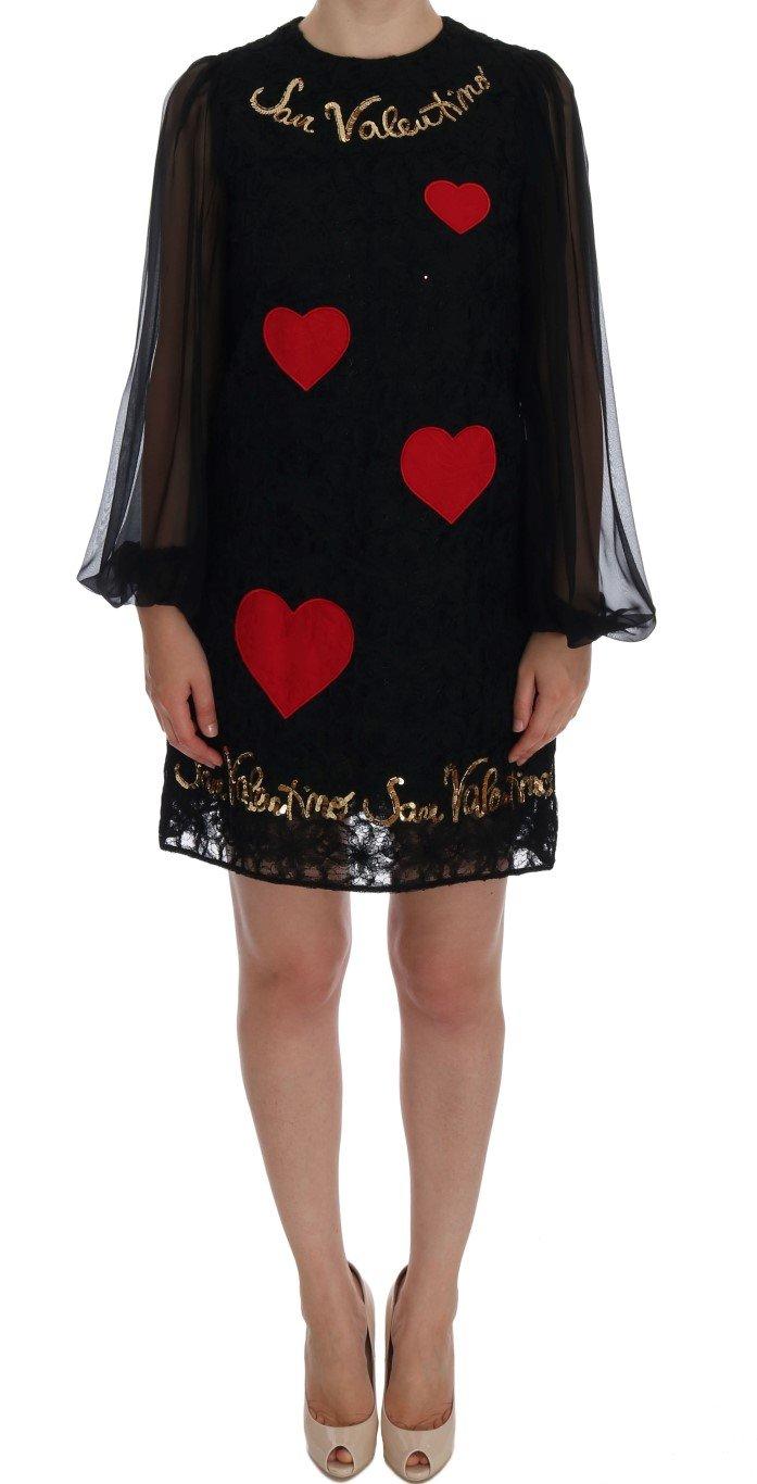 Dolce & Gabbana Women's San Valentino Sequined Shift Dress Black DR1019 - IT38|XS