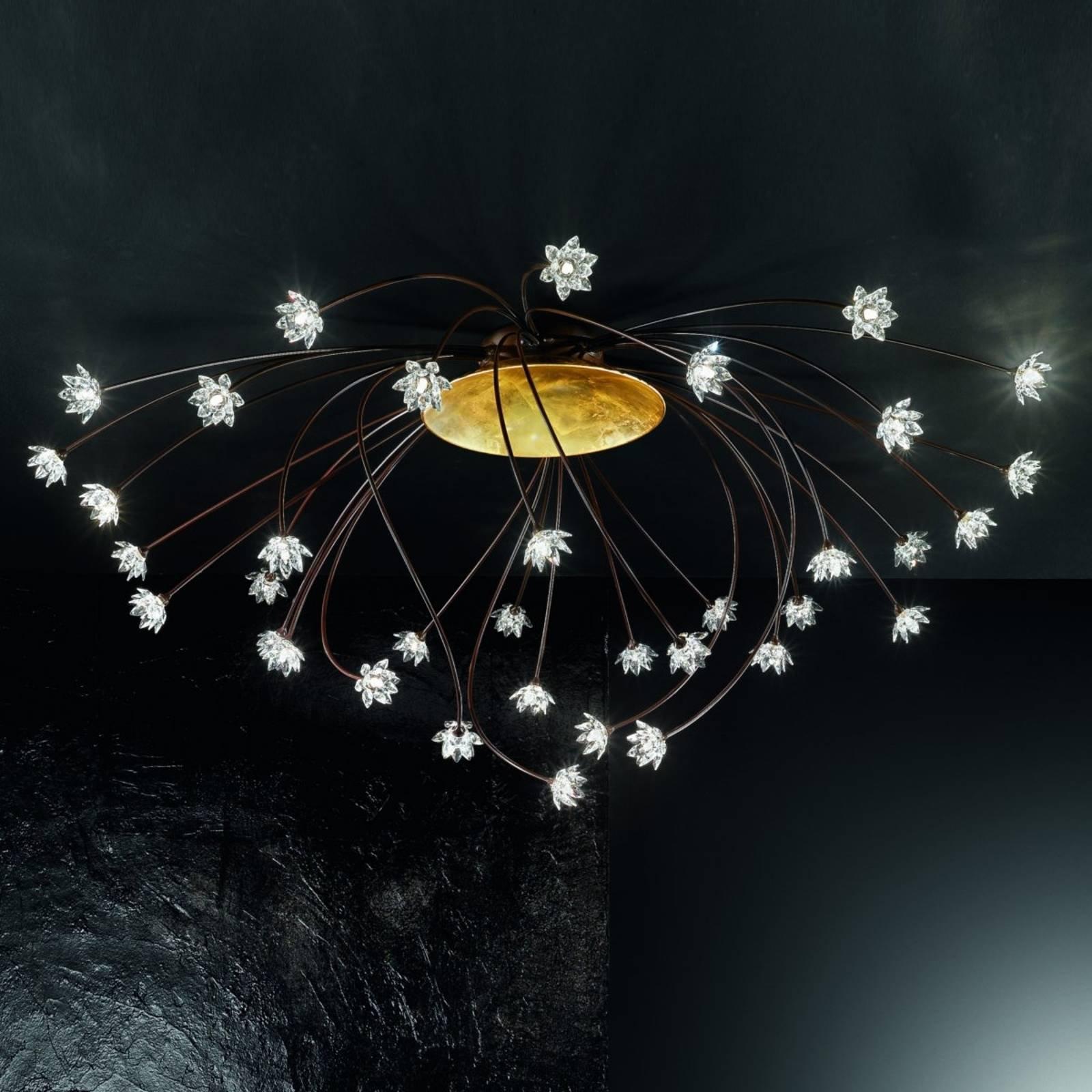 Praktfull Fiorella krystall-taklampe på 190 cm